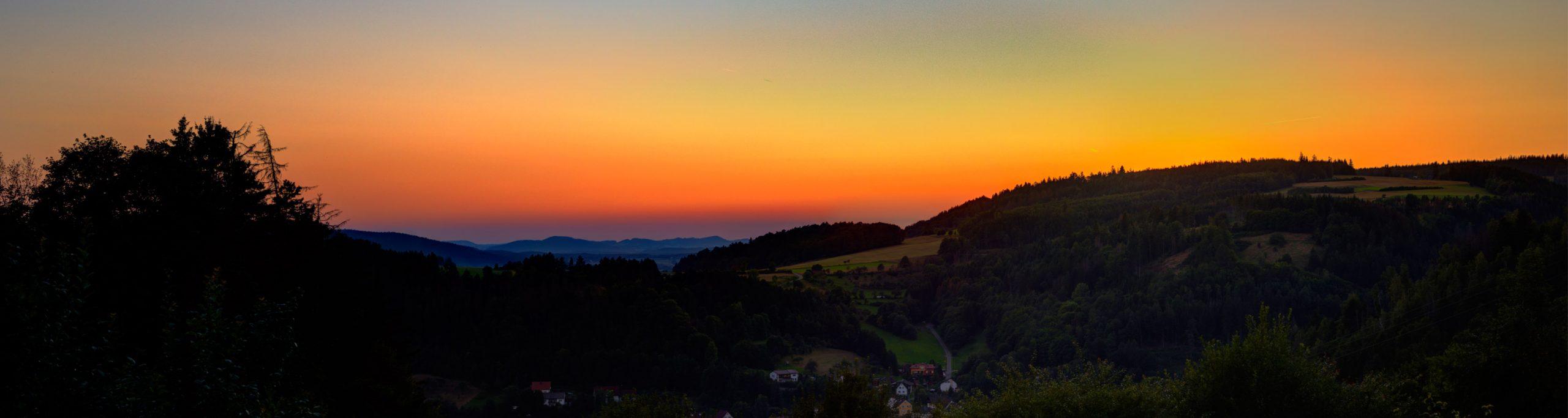 Panorama Sonnenuntergang Vom Gasthof Bauernhannla